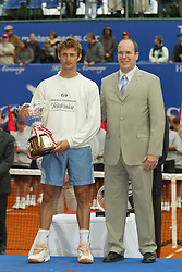 MONTE-CARLO, MONACO - Sunday, April 20, 2003: Juan Carlos Ferrero is presented with the trophy by Prince Albert of Monaco following his 6-2, 6-2 victory in the final of the Tennis Masters Monte-Carlo. (Pic by David Rawcliffe/Propaganda)