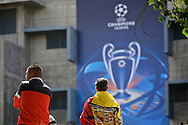 General view of the exterior of the stadium showing fans arriving pictured ahead of the UEFA Champions League Final at Estádio da Luz, Lisbon<br /> Picture by Ian Wadkins/Focus Images Ltd +44 7877 568959<br /> 24/05/2014