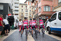 Bizkaia-Durango Cycling Team riders chat to local spectators before the Durango-Durango Emakumeen Saria - a 113 km road race, starting and finishing in Durango on May 16, 2017, in the Basque Country, Spain.