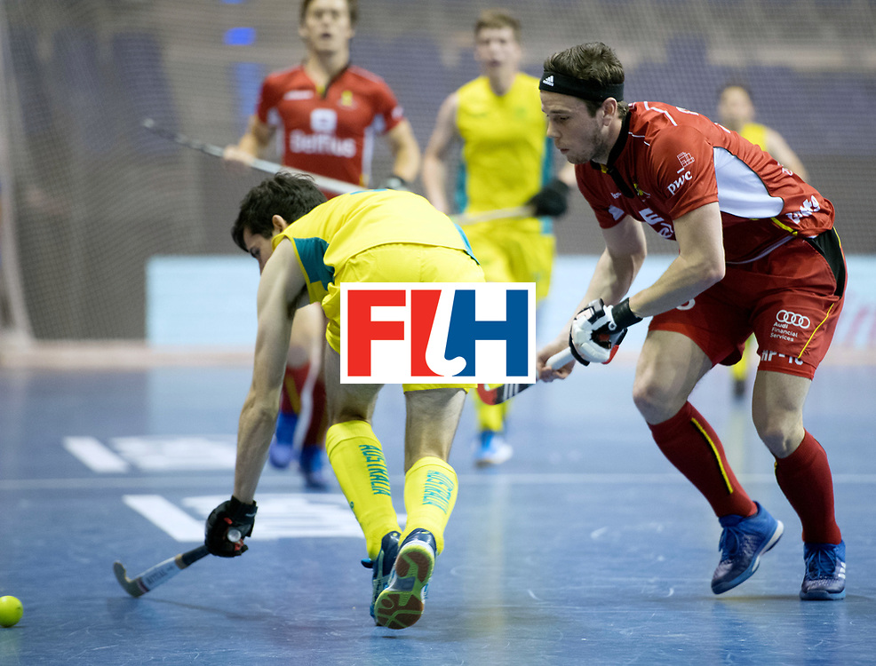 BERLIN - Indoor Hockey World Cup<br /> Quarterfinal 4: Australia - Belgium<br /> foto: DEGROOTE Tom.<br /> WORLDSPORTPICS COPYRIGHT FRANK UIJLENBROEK
