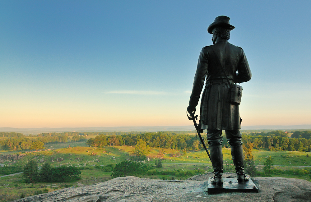 Monument of Warren on Top of Little Round Top, Watching over the Sunrise across Adams County, PA