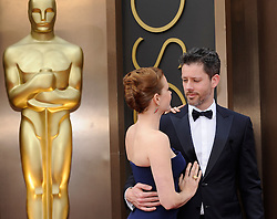 Amy Adams with Darren Le Gallo arriving to the 2014 Oscars at the Hollywood and Highland Center in Hollywood, California, USA,  Sunday, 2nd March 2014. Picture by Hollywood Bubbles / i-Images<br /> UK ONLY