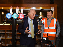 Pictured: Vince Cable pours pints with Alex Cole Hamilton, MSP for Edinburgh West and Caledonian Brewery's Kevin Russell.<br /> <br /> Liberal Democrat leader Vince Cable MP chose a visit to a micro brewery in Edinburgh to deliver an ultimatum to the SNP, to fight to find a way for the whole UK to stay in the EU.<br /> <br /> © Dave Johnston / EEm