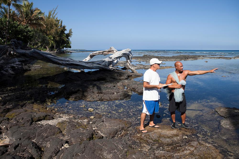 Fishing interview by James Heacock with fisherman Kawika Auld, Pakini Survey, Puako coastline, Lalamilo ahupuaa, South Kohala, Hawaii, Big Island, access 116