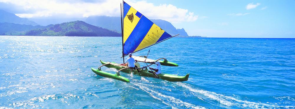 Outrigger Sailing Canoe, Hanalei Bay, Kauai, Hawaii, Panoramic