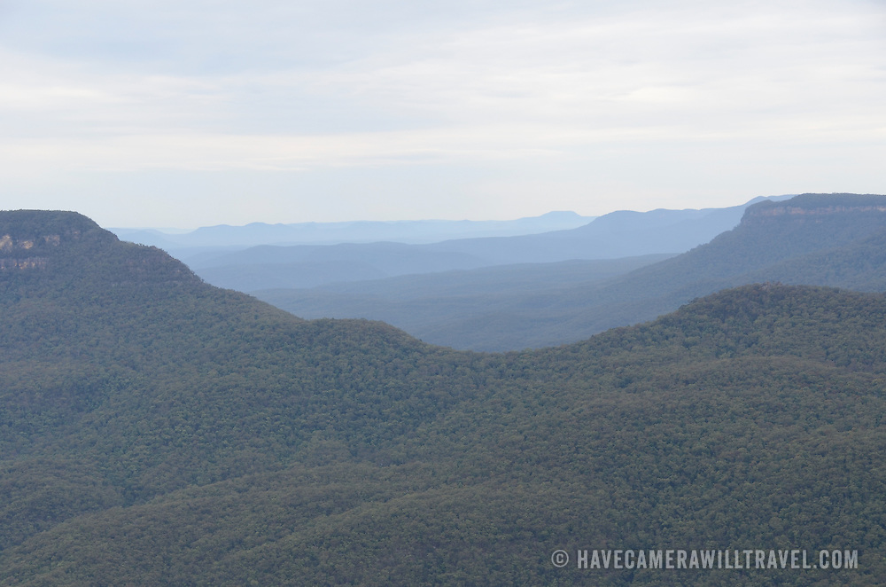 A valley in the Blue Mountains as seen from Echo Point in Katoomba, New South Wales, Australia.