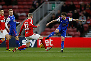 Middlesbrough midfielder George Saville (22) and Ipswich Town midfielder Gwion Edwards (7) contest a loose ball  during the EFL Sky Bet Championship match between Middlesbrough and Ipswich Town at the Riverside Stadium, Middlesbrough, England on 29 December 2018.