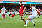 Luton Town Defender Johnny Mullins crosses the ball during the EFL Sky Bet League 2 match between Crawley Town and Luton Town at the Checkatrade.com Stadium, Crawley, England on 17 September 2016. Photo by Phil Duncan.