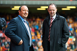 LIVERPOOL, ENGLAND - Saturday, September 26, 2009: Liverpool's manager Rafael Benitez and press officer Ian Cotton before the Premiership match against Hull City at Anfield. (Photo by: David Rawcliffe/Propaganda)