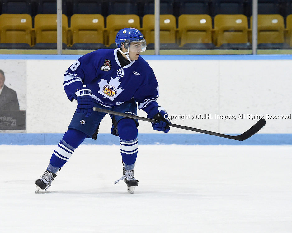 MARKHAM, ON - Oct 18, 2015 : Ontario Junior Hockey League game action between Wellington and Markham, Marco Azzano #18 of the Markham Royals pursues the play during the first period.<br /> (Photo by Andy Corneau / OJHL Images)