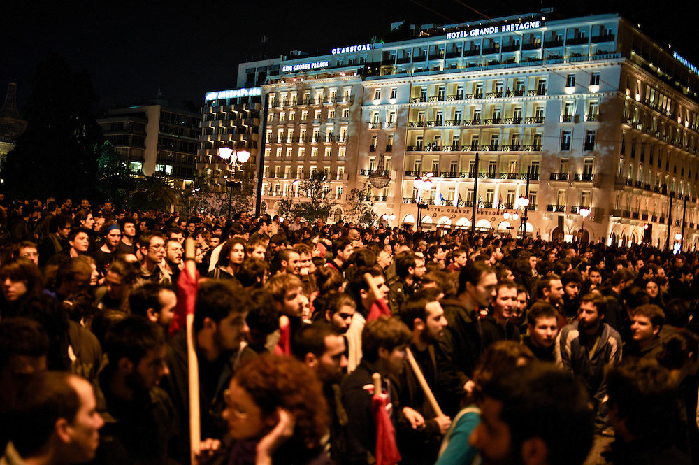 Athens, Greece, November 15, 2010. In front of the Greek parliament, demonstration  organized by workers' unions, students and left-wing political parties against the IMF (International Monetary Fund).