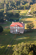Aerial view of Drayton Hall plantation Charleston, South Carolina.