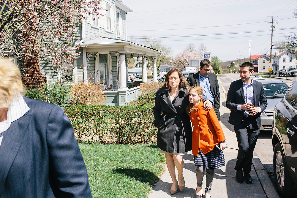 West Virginia Secretary of State Natalie Tennant arrives with her daughter, Delaney, at Romney First United Methodist Church in Romney, W.V. for a Lenten Luncheon on Wednesday, April 16, 2014. Tennant is running for US Senate in West Virginia against Republican Rep. Shelley Moore Capito.