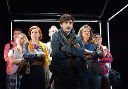 © Licensed to London News Pictures. 31/01/2013. London, England. L-R: Robbie Town, Ellie Kir, Nikki Davis-Jones, Jonny Fines, George Maguire, Julie Atherton, Cynthia Erivo. LIFT, world premiere of a new musical by Craig Adams and Ian Watson about love, life and loss in a London lift. Cast includes: Julie Atherton, Nikki Davis-Jones, Cynthia Erivo, Jonny Fines, Luke Kempner, Ellie Kirk, George Maguire, Robbie Towns. 30 January to 24 February 2013. Photo credit: Bettina Strenske/LNP