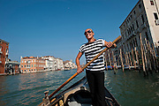 Venice, Italy, sept. 2009. Giorgia Boscolo, the first official woman gondolier.