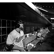 Chris Davis, Baltimore Orioles, in the dugout during the New York Mets Vs Baltimore Orioles MLB regular season baseball game at Citi Field, Queens, New York. USA. 5th May 2015. Photo Tim Clayton