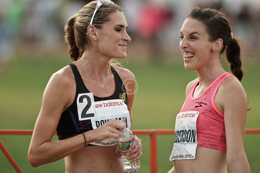 Falmouth Road Race: Falmouth Elite Mile race, Sarah Bowman and Gabby Anderson chat after race