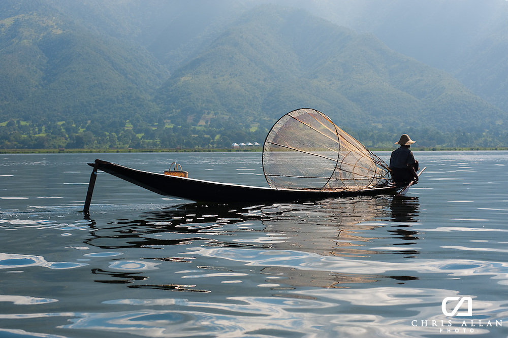 Traditional Burmese fisherman on Inle Lake