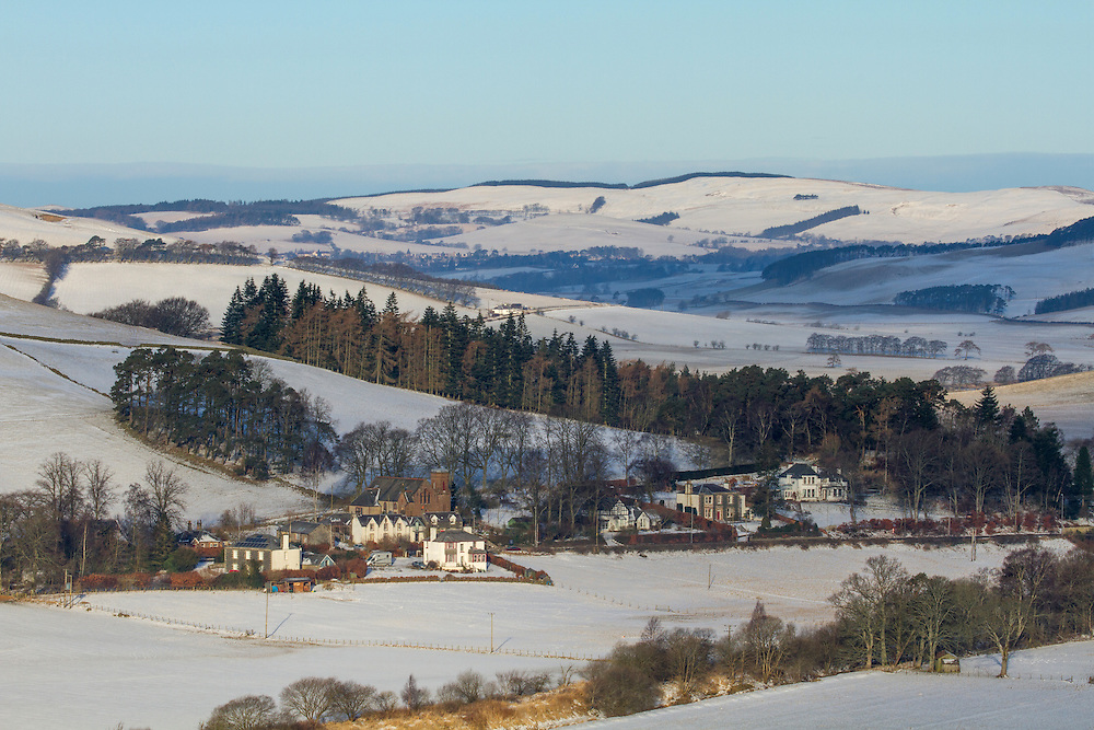 Late Winters dawn over the Scottish Border region of Upper Tweeddale overlooking Drumelzier