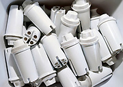 Depleted Britta water filters used in pitchers to remove or reduce zinc, copper, cadmium, chlorine, mercury and other contaminents and impurities from water are discarded in Tucson, Arizona, USA.