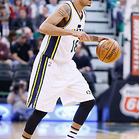 27 January 2016: Utah Jazz guard Erick Green (18) dribbles during the Utah Jazz 102-73 victory over the Charlotte Hornets, at the Vivint Smart Home Arena, Salt Lake City, Utah, USA.