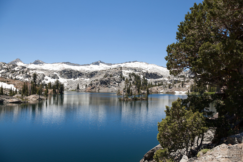 """""""Heather Lake 3"""" - Photograph of a tree and a small island at Heather Lake along the Pacific Crest Trail in the Tahoe Desolation Wilderness."""
