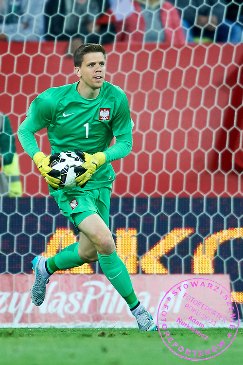 Goalkeeper Wojciech Szczesny from Poland controls the ball during international friendly soccer match between Poland and Greece at PGE Arena Stadium on June 16, 2015 in Gdansk, Poland.<br /> Poland, Gdansk, June 16, 2015<br /> <br /> Picture also available in RAW (NEF) or TIFF format on special request.<br /> <br /> For editorial use only. Any commercial or promotional use requires permission.<br /> <br /> Adam Nurkiewicz declares that he has no rights to the image of people at the photographs of his authorship.<br /> <br /> Mandatory credit:<br /> Photo by &copy; Adam Nurkiewicz / Mediasport