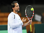 Wroclaw 29/01/2013.Hala Stulecia.Davis Cup .Poland vs Slovenia.Blaz Trupej of Slovenia.Photo by : Piotr Hawalej