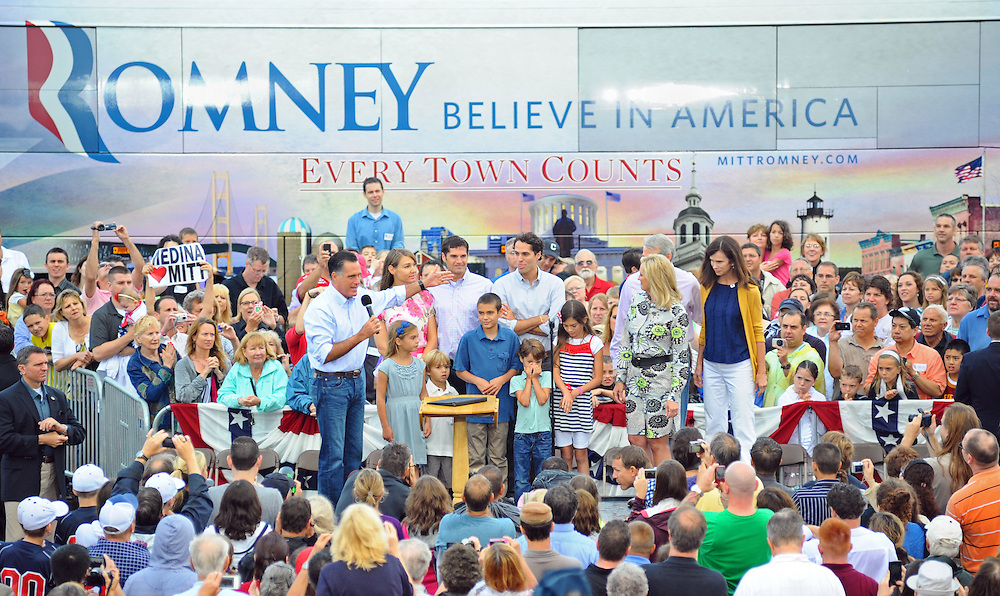 LAURA FONG | SUMMER KENT STATER Mitt Romney made a campaign stop at Mapleside Farms in Brunswick, Ohio where he hosted a Father's Day pancake breakfast for about 3,500 people.