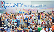 LAURA FONG   SUMMER KENT STATER Mitt Romney made a campaign stop at Mapleside Farms in Brunswick, Ohio where he hosted a Father's Day pancake breakfast for about 3,500 people.