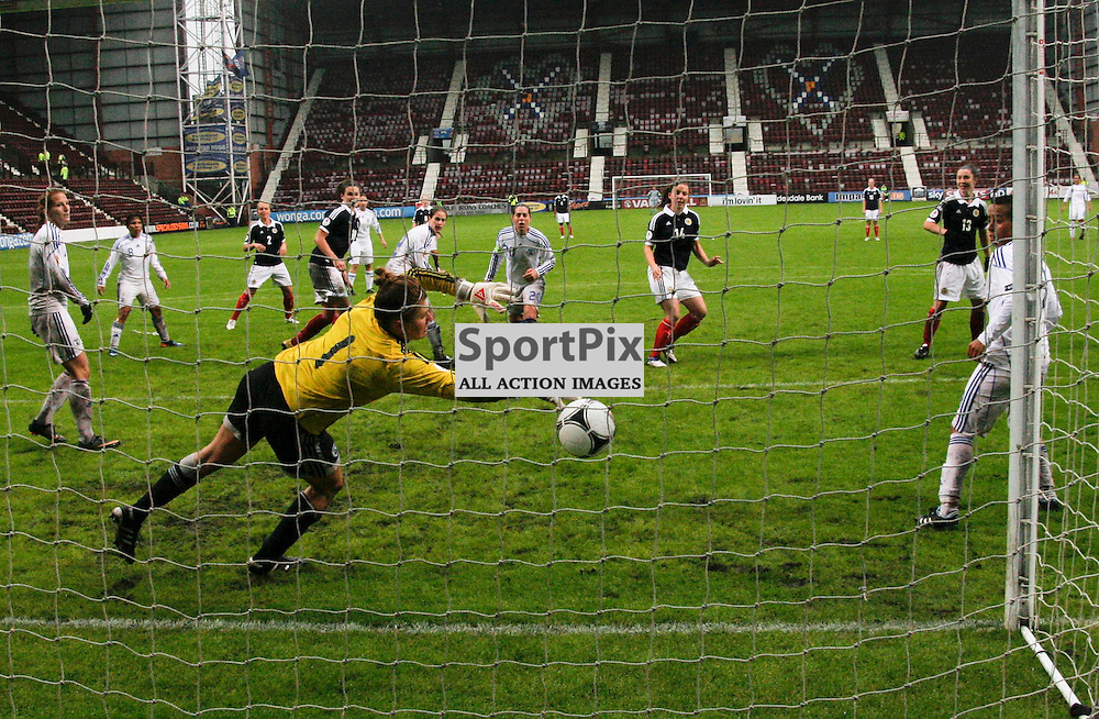 Goal number 8 for Scotland by Rachel Corsie beats Israeli keeper Merav Shamir.Scotland Ladies v Israel Ladies in group 4 of the UEFA European Championships qualifier 2012 at Tynecastle Stadium Edinburgh 16-06-2012
