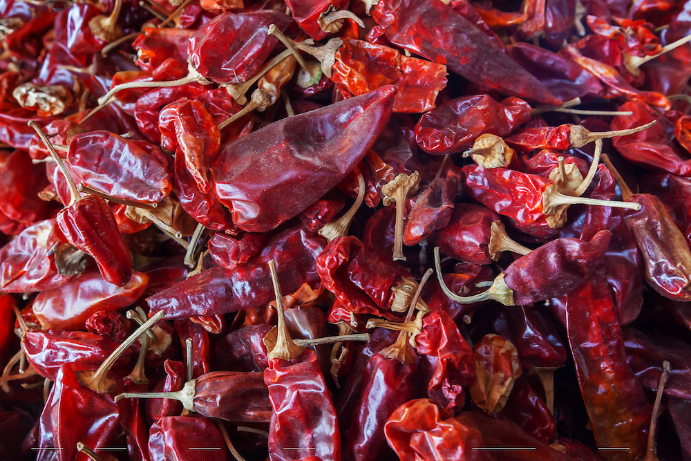 Dried red peppers, closeup.