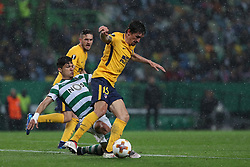 April 12, 2018 - Lisbon, Portugal - Sporting's forward Fredy Montero from Colombia (C ) fights for the ball with Atletico Madrids defender Stefan Savic of Montenegro (R ) during the UEFA Europa League second leg football match Sporting CP vs Atletico Madrid at Alvalade stadium in Lisbon, on April 12, 2018. (Credit Image: © Pedro Fiuza/NurPhoto via ZUMA Press)