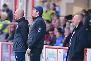 Accrington Stanley Manager John Coleman and Fleetwood Town Manager Joey Barton look on during the EFL Sky Bet League 1 match between Accrington Stanley and Fleetwood Town at the Fraser Eagle Stadium, Accrington, England on 30 March 2019.