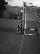 Division 1A Playoff At Iveagh Grounds..St James Gate vs Park Villa..1986..28.05.1986..05.28.1986..28th May 1986..Image of Parkvilla goalkeeper, Ian Baily, as he watches the ball pass his post in the game against St James's Gate in the division 1A playoff.