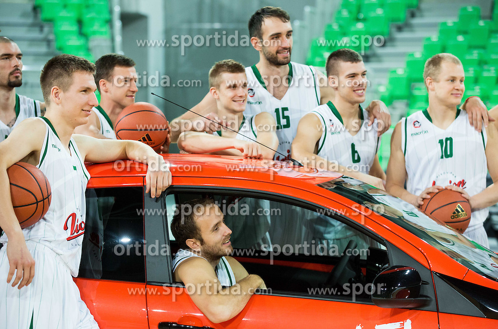 Gregor Hrovat, Blaz Mahkovic, Marko Marinovic, Luka Rupnik, Mirza Begic, Paolo Marinelli, Sasu Salin  during Media day of basketball club KK Union Olimpija before new season 2014/15, on September 24, 2014 in Arena Stozice, Ljubljana, Slovenia. Photo by Vid Ponikvar / Sportida.com