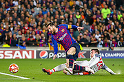 Liverpool defender Andy Robertson (26) tries to stop Barcelona forward Lionel Messi (10) during the Champions League semi-final leg 1 of 2 match between Barcelona and Liverpool at Camp Nou, Barcelona, Spain on 1 May 2019.