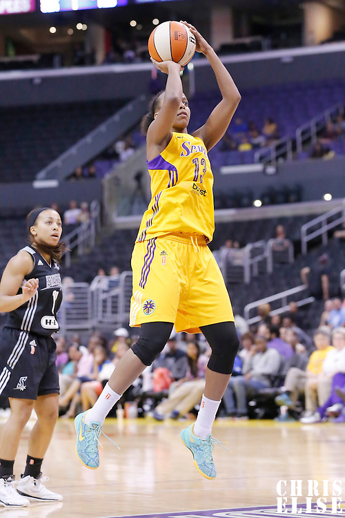 25 May 2014: Los Angeles Sparks forward Farhiya Abdi (13) takes a jumpshot during the Los Angeles Sparks 83-62 victory over the San Antonio Stars, at the Staples Center, Los Angeles, California, USA.