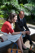 MIRIAM CLEGG; ( Miriam Gonzalez Durantez ) JIMMY C, PRESS PREVIEW. The RHS Chelsea Flower Show 2011. The Royal Hospital grounds. Chelsea. London. 23 May 2011. <br /> <br />  , -DO NOT ARCHIVE-© Copyright Photograph by Dafydd Jones. 248 Clapham Rd. London SW9 0PZ. Tel 0207 820 0771. www.dafjones.com.
