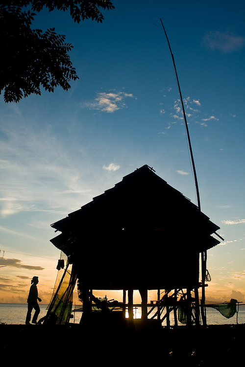 A beachside hut in Central Sulawesi, Indonesia