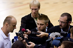 Head coach of Slovenia Jure Zdovc interviewed by Franci Pavsar, Anze Blazic and Igor Kovacic after the practice at the EuroBasket 2009, on September 17, 2009 in Szopienice Arena, Katowice, Poland.  (Photo by Vid Ponikvar / Sportida)