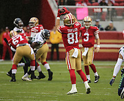 Nov 26, 2017; Santa Clara, CA, USA; San Francisco 49ers San Francisco 49ers wide receiver Trent Taylor (81) catches a 6 yard pass in the first qurter against the Seattle Seahawks at Levi's Stadium. Seattle beat San Francisco 24-13.