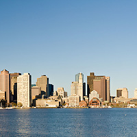 Panoramic skyline of Boston from East Boston.