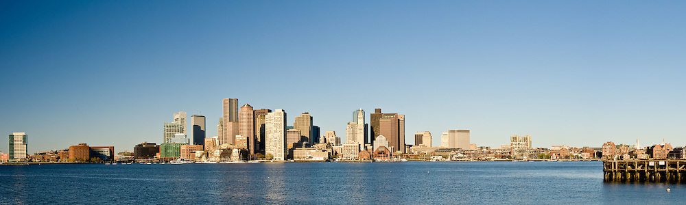 Panoramic skyline of Boston from East Boston.