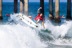 Beyrick De Vries (ZAF) advances to Round 2 of the 2018 VANS US Open of Surfing after winning Heat 5 of Round 1 at Huntington Beach, California, USA.