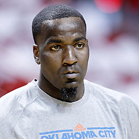 17 June 2012: Oklahoma City Thunder center Kendrick Perkins (5) warms up prior to Game 3 of the 2012 NBA Finals, Thunder at Heat, at the AmericanAirlinesArena, Miami, Florida, USA.
