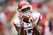 FAYETTEVILLE, AR - MARCH 6:   Jimmie Stoudemire #17 of the Arkansas Razorbacks warms up before the annual Spring Game at Razorback Stadium on March 6, 2019 in Fayetteville, Arkansas.  (Photo by Wesley Hitt/Getty Images) *** Local Caption *** Jimmie Stoudemire