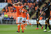 Blackpool Forward, Mark Cullen (9) as Blackpool miss during the EFL Sky Bet League 1 match between Blackpool and Bradford City at Bloomfield Road, Blackpool, England on 8 September 2018.