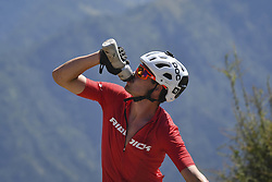 October 4, 2018 - Himachal Pradesh, India - Patrik Robinson of United Kingdom drinks water as he competes at the 14th edition of the Hero MTB Himalaya mountain bike race in the northern Indian state of Himachal Pradesh on 4th  October, 2018. The 14th edition of the annual cross country race is taking place over eight stages in the foothills of the Himalaya, started in Shimla on September 28, 2018 and finishing in Dharamshala on October 6,2018. (Credit Image: © Indraneel Chowdhury/NurPhoto/ZUMA Press)