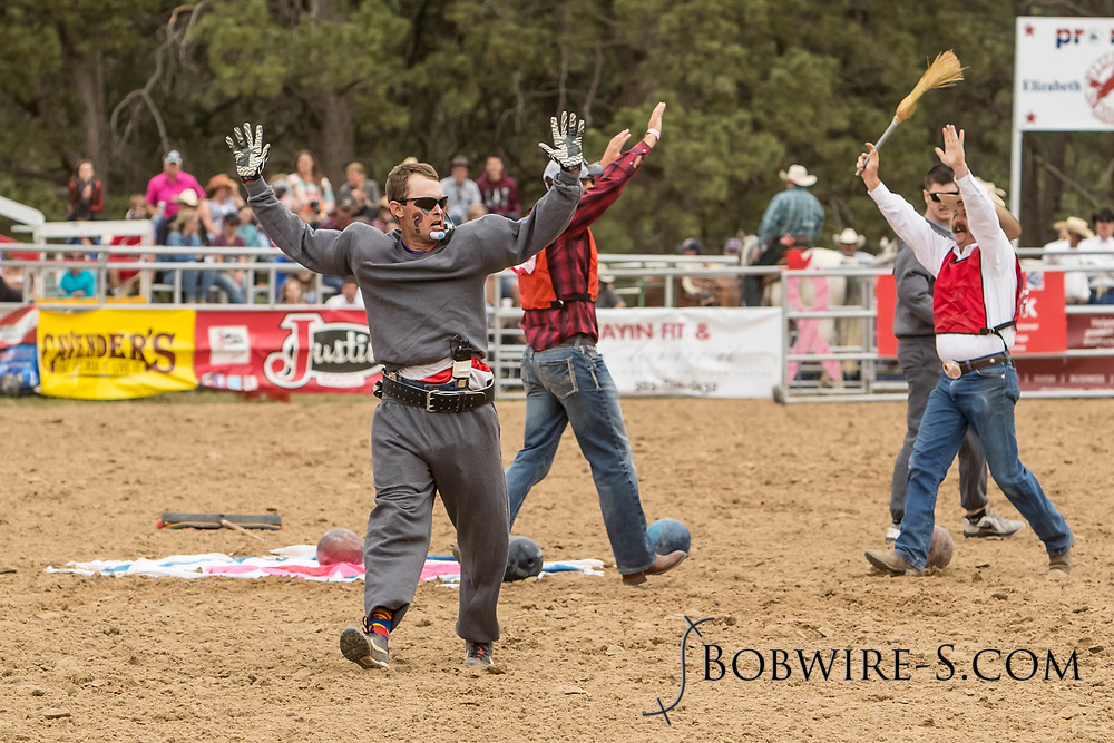 Barrelman JW Winklepleck entertains the crowd during the third performance of the Elizabeth Stampede on Sunday, June 3, 2018.